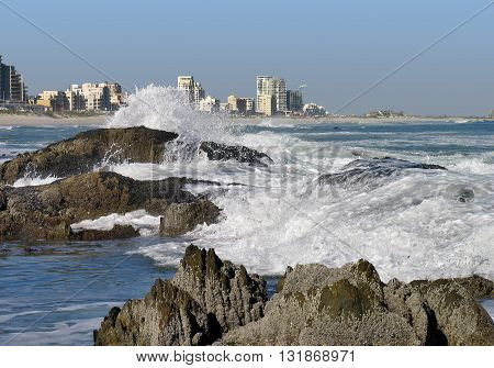 Blouberg Strand, Rough Waves And Rocks In Fore Ground,  Cape Town South Africa 16