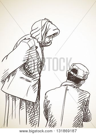 Sketch of man and woman talking, Hand drawn illustration