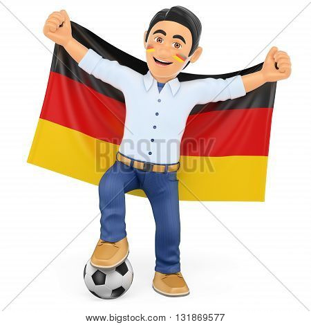 3d sport people illustration. Football fan with the flag of Germany. Isolated white background.