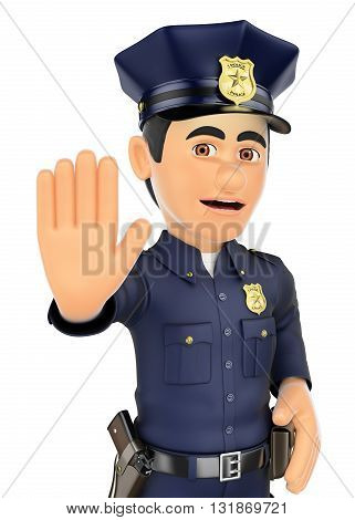 3d security forces people illustration. Policeman ordered to stop with hand. Isolated white background.