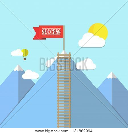 Success Red flag on a Mountain peak landscape vector illustration