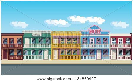 Vector illustration of houses in the style of the wild west. Illustration seamless horizontally if needed
