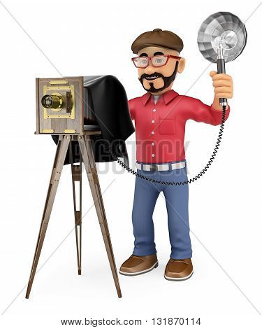 3d working people illustration. Photographer taking a photo with a vintage camera. Isolated white background.