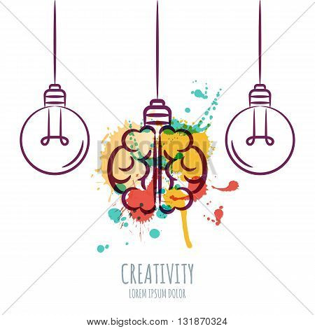 Vector Illustration Of Watercolor Human Brain And Outline Light Bulbs, Isolated On White Background.
