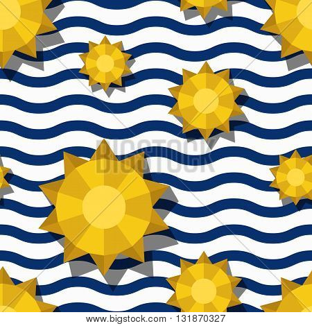 Vector Seamless Pattern With 3D Stylized Yellow Sun And Blue Wavy Stripes. Summer Marine Striped Bac