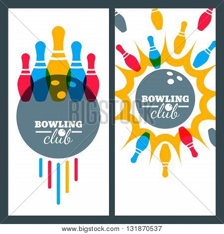 Bowling Backgrounds And Isolated Elements For Banner, Poster, Flyer, Label Design. Abstract Vector I