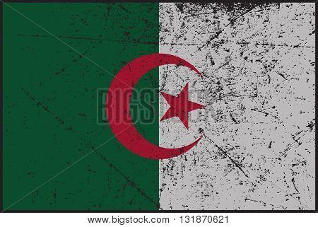 A worn grunged Algeria flag design background