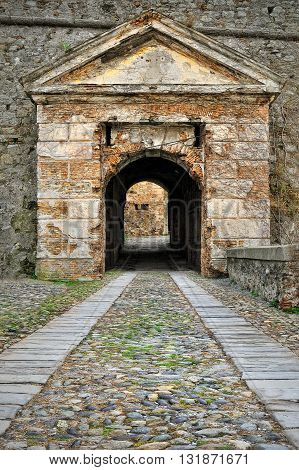 entrance gate to the castle in Savona