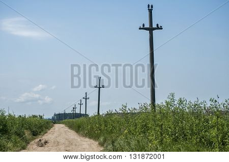 Countryside landscape with dirt road and abandoned power poles
