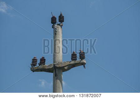 Abandoned power pole top on blue sky background