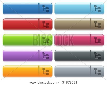 Set of folder structure glossy color menu buttons with engraved icons