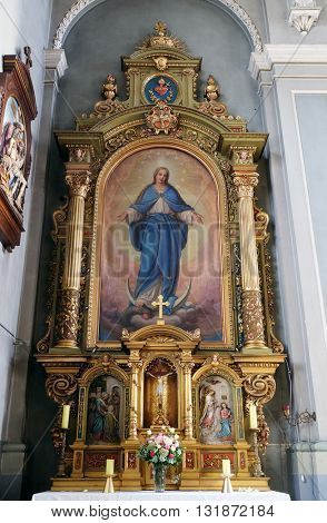 ZAGREB, CROATIA - SEPTEMBER 14: Our Lady, altar in the Basilica of the Sacred Heart of Jesus in Zagreb, Croatia on September 14, 2015