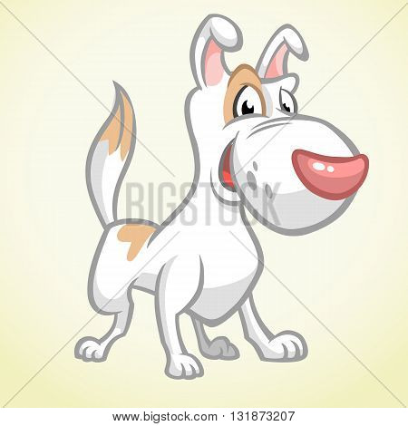 Smiling brown bull terrier dog. Vector dog