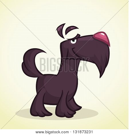 Cute cartoon scottish terrier. Vector black Scottie dog