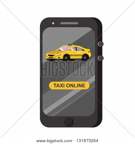 Vector modern flat  Taxi online app. Creative infographics design Taxi online app service, yellow taxi.Taxi hire service application running. Taxi online app