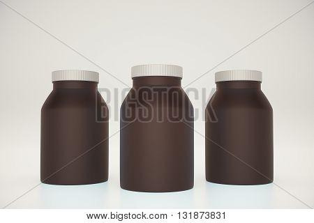 Three empty brown bottles on light background. Mock up 3D Rendering