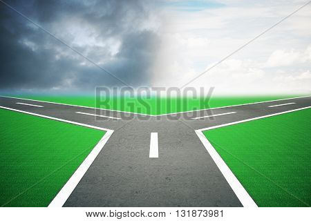 Different direction concept with road splitting into two under dull and bright skies. 3D Rendering