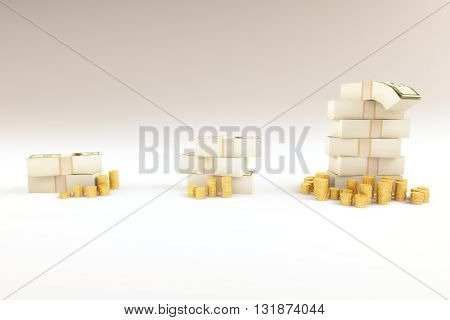 Financial growth concept with growing coins and money stacks on light background. 3D Rendering