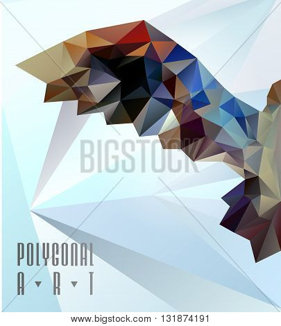 Abstract polygonal bird. Geometric illustration. low poly poster