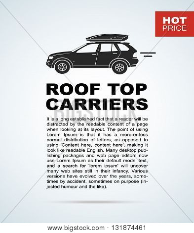 Vector flyer with the car and roof rack. The leaflet with the text for cars sellers.