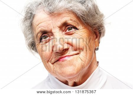 Old woman smile face on a white