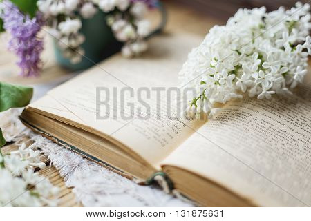 Still life with lilac flowers on old book. Rustic vintage background. Interesting reading.