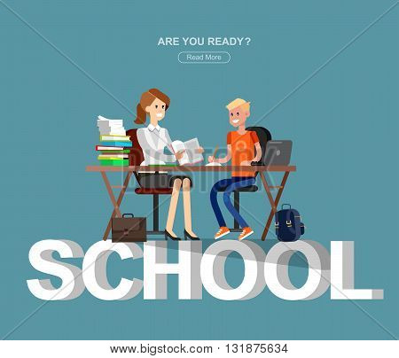 Studying in classroom with homework. Flat character children studying, style vector child studying, Schoolchildren studying illustration