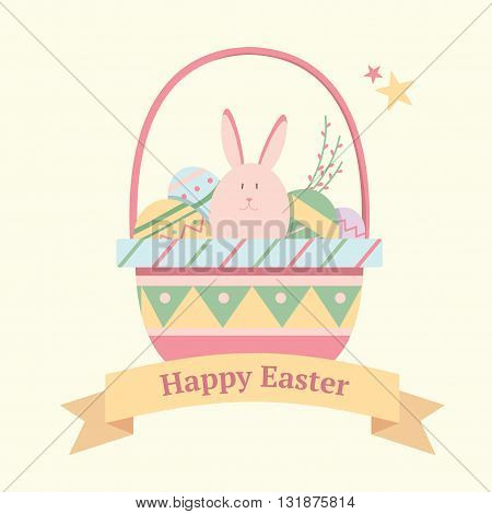 Festive card for Easter with a bunny and eggs in a basket