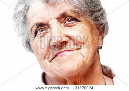 Old woman face on a white background