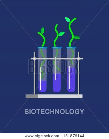 Biotechnology icons concept, composition of genetic engineering, nanotechnology and genetic modification