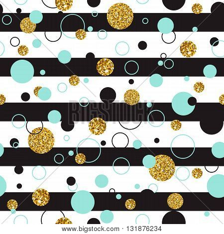 Vector illustration o of Universal Modern Stylish seamless Template with Golden Geometrical Glitter Dots. Creative Wedding, Anniversary, Birthday, Valentines Day, Party Invitations, Business background.