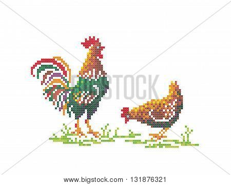 Cross stitch. Scheme of knitting and embroidery. Vector illustration.