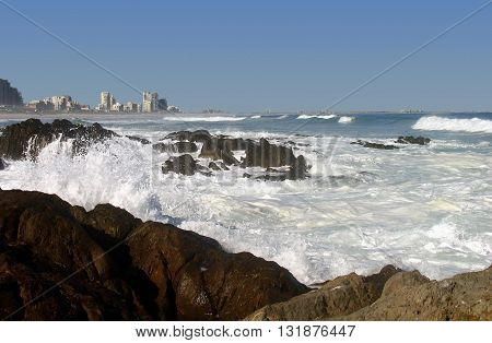 Blouberg Strand, Rough Sea And Rocks In Fore Ground, Cape Town South Africa 33