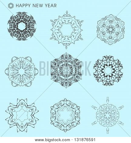Collection of vector snowflakes. Thin line and ornamental snowflakes. Winter illustration set. Christmas decoration for Christmas card, Christmas sale banner, gift