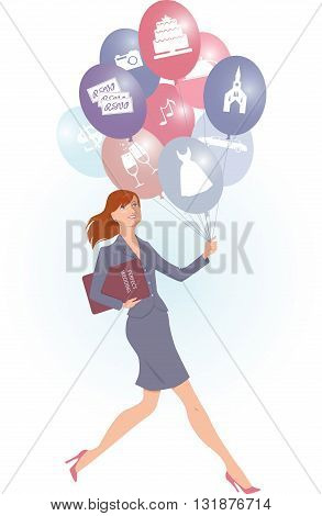 Female wedding planner carrying balloons with wedding icons on them, vector cartoon