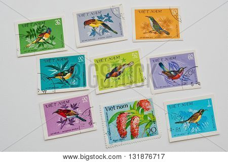 Uzhgorod, Ukraine - Circa May, 2016: Collection Of Postage Stamps Printed In  Vietnam Shows The Diff