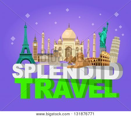 High quality, detailed most famous World landmarks. Travel vector. Travel illustration. Travel landmarks. Happy travel
