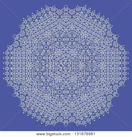 White Mandala Isolated on Blue Background. Round Ornament
