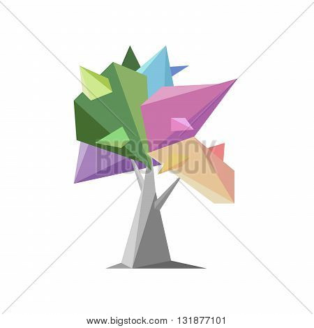 Colorful and unusual tree on a white background.