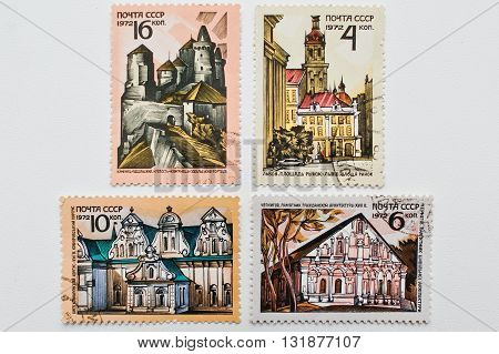 Uzhgorod, Ukraine - Circa May, 2016: Collection Of Postage Stamps Printed In Ussr Showing Different
