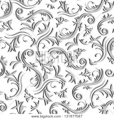 Bulk Vintage Seamless Pattern Made Of Floral Ornaments In Grey Tones On White Background