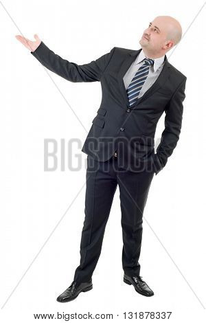Businessman showing something, full length, isolated on white