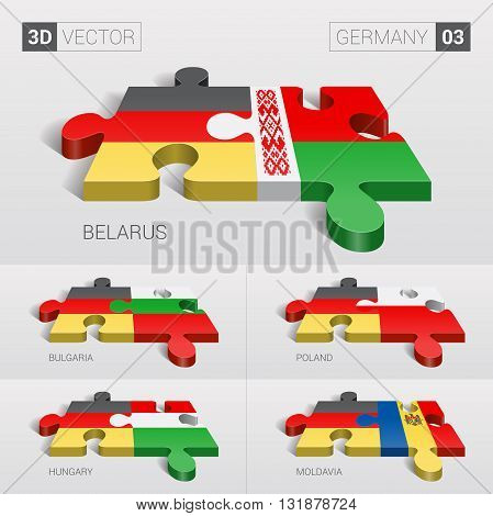 Germany and Belarus, Bulgaria, Poland, Hungary, Moldavia Flag. 3d vector puzzle. Set 03.