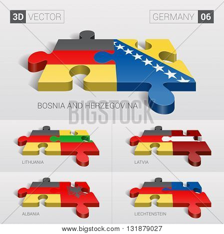 Germany and Bosnia and Herzegovina, Lithuania, Latvia, Albania, Liechtenstein Flag. 3d vector puzzle. Set 06.