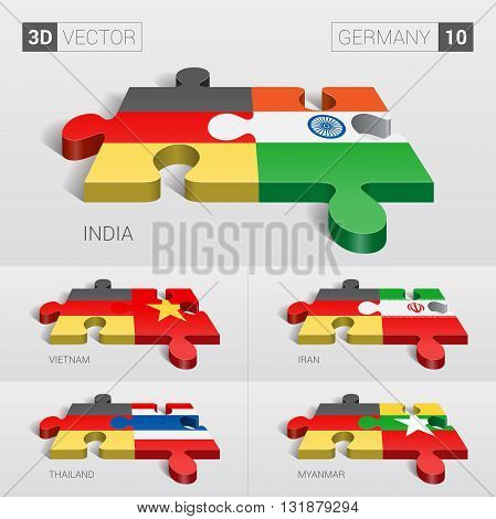 Germany and India, Vietnam, Iran, Thailand, Myanmar Flag. 3d vector puzzle. Set 10.