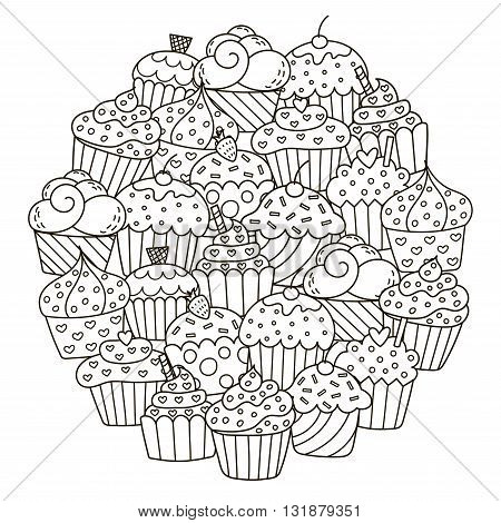 Circle shape pattern with cute cupcakes for coloring book. Vector illustration