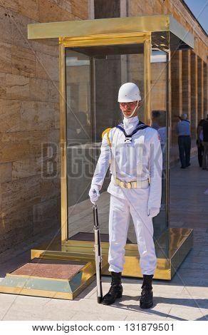 ANKARA, TURKEY - AVGUST 30: Guard in Ataturk mausoleum at Avgust 30, 2011, Ankaral Turkey.