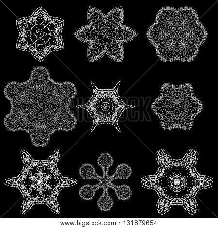 Round Geometric Ornaments Set Isolated on Black Background