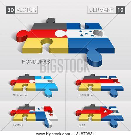 Germany and Honduras, Nicaragua, Costa Rica, Cuba Flag. 3d vector puzzle. Set 19.