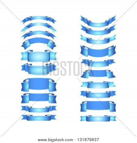 isolated vector colored satin ribbons set - blue